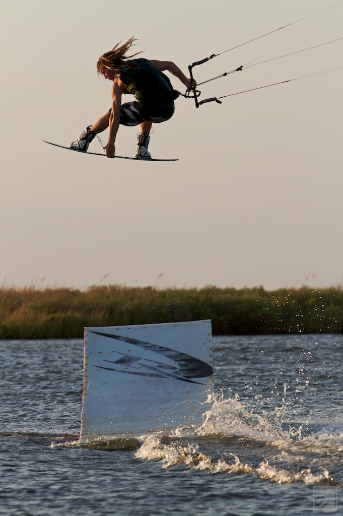 Kiteboarder Eric Rienstra off the REAL Kicker in Cape Hatteras, NC