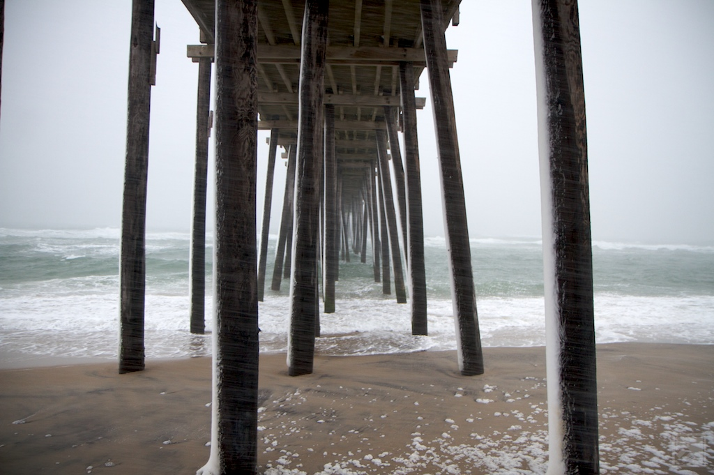 Rodanthe Pier during a snow storm in Cape Hatteras, NC
