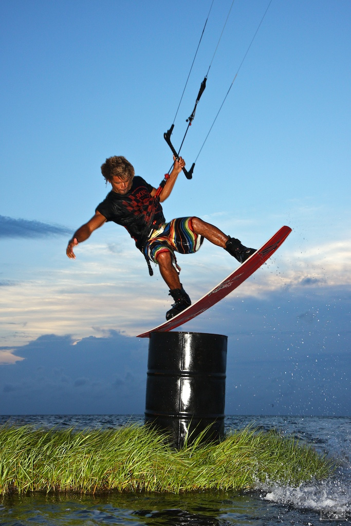 Andre Phillip taps a barrel in the Pamlico Sound in Cape Hatteras, NC