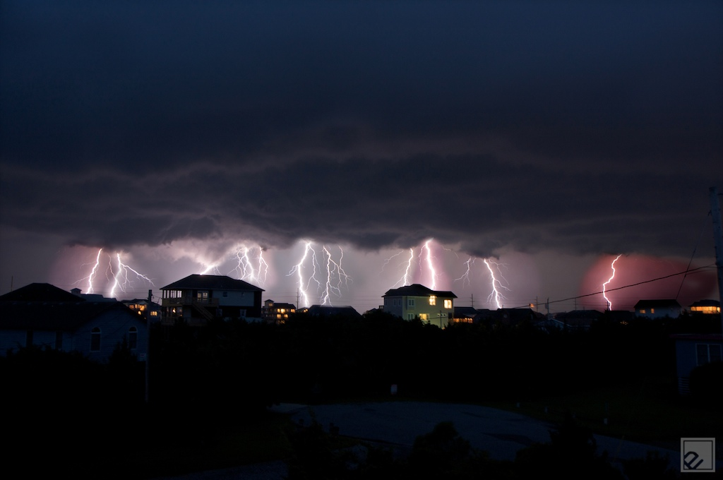 a lightnighting storm over the trivillages in cape hatteras, nc