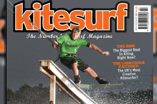 Pro Kiteboarder Brandon Scheid on the cover of Kitesurf Magazine