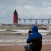 a photographer sets up to shoot the action in south haven mi