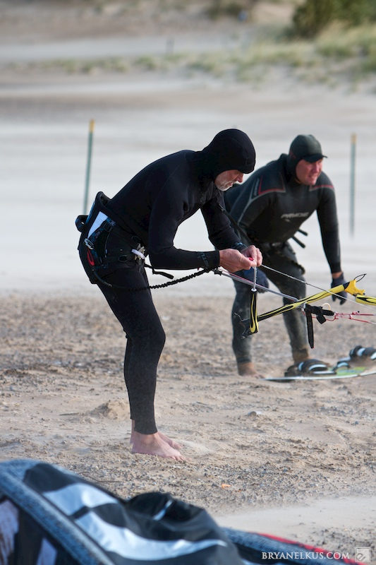 a kiteboarder prepaired to launch