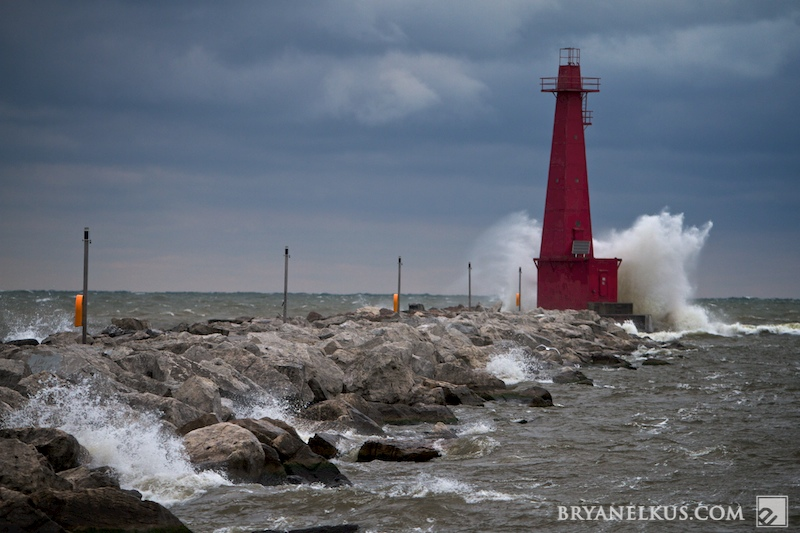 Muskegon Lighthouse on a stormy day