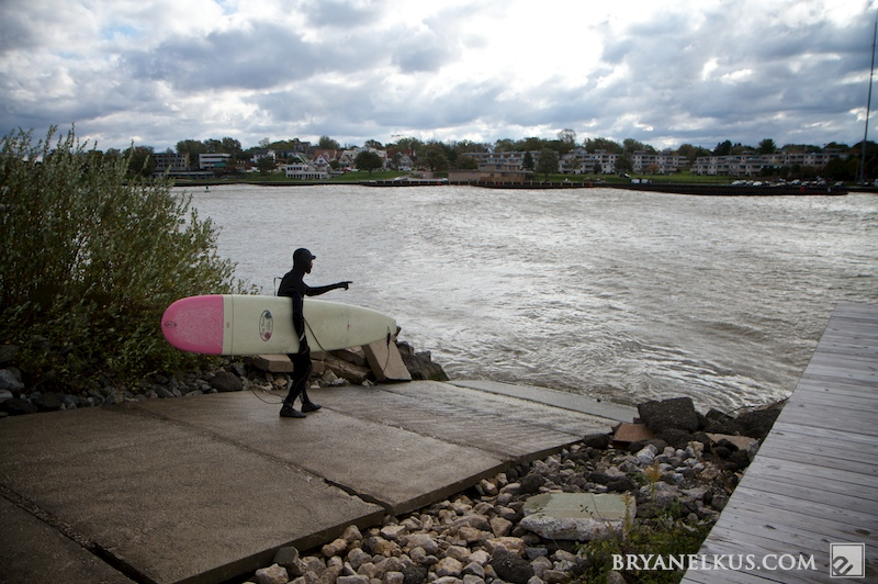 A Michigan Surfer heading into the water