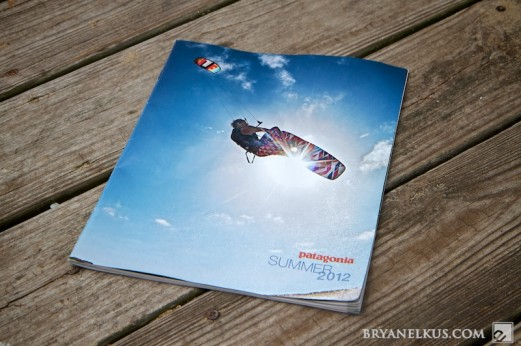 Jason Slezak Kiteboarding on the cover of patagonia summer catalog 2012