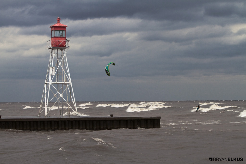 a kitesurfer on lake erie