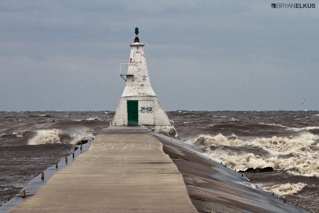 a view of the Erieau Lighthouse on a stormy day