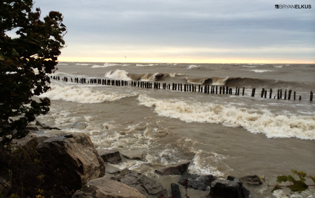 Waves breaking on Lake Erie near Erieau CA